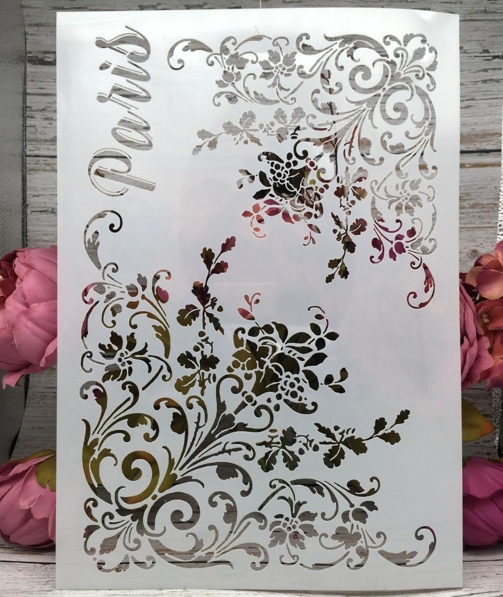 A4 Paris Flower Edge DIY Layering Stencils Wall Painting Scrapbook Coloring Embossing Album Decorative Paper Card Template