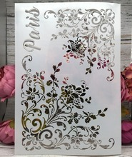 Buy A4 Paris Flower Edge DIY Layering Stencils Wall Painting Scrapbook Coloring Embossing Album Decorative Paper Card Template directly from merchant!