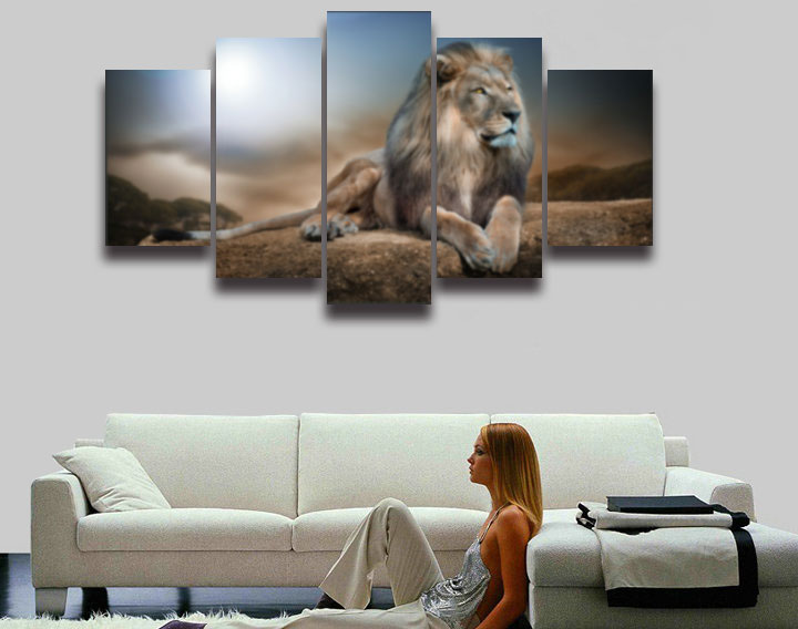 Beautiful Printed Male Lion Picture Animal Modular Canvas Painting 5 Panels Wall Art Home Decor For