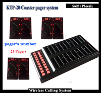 Wireless Waiter calling system With 1 Pcs Pager Transmitter Call Customer service number And 25pcs Coaster Pager