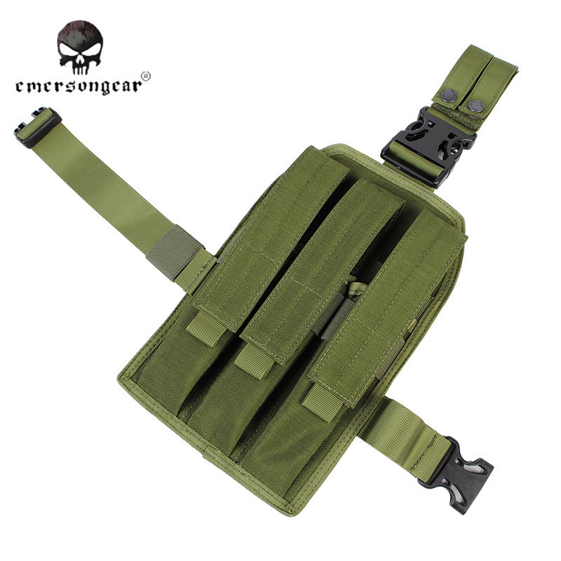 EMERSON Military Tactical Airsoft MP7 Leg Triple Magazine Pouch Outdoor Riding Leg Bag Hunting Fishing Tool Assault Pack EM6055 emerson 1000d nylon durable portable adjustable military tactical secret underarm pouch outdoor hunting camping accessory bag