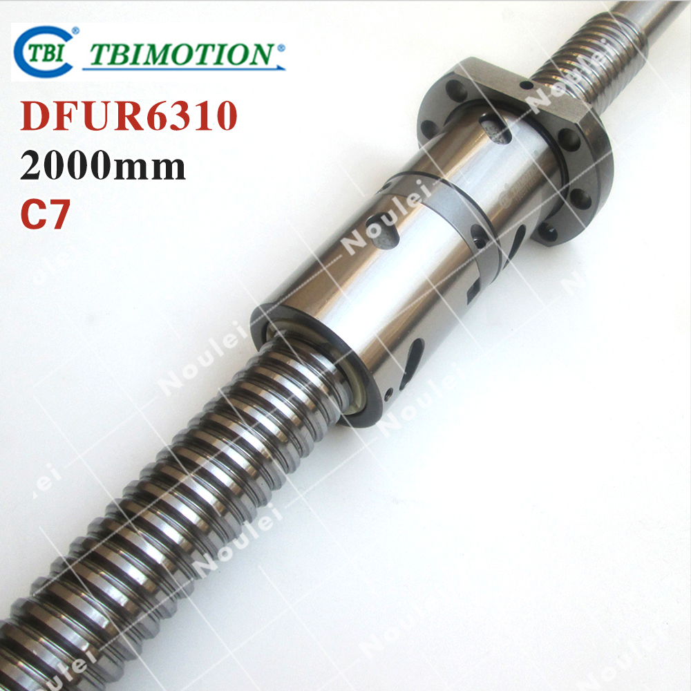TBI 6310 C7 2000mm ball screw 10mm lead with DFU6310 ballnut Ground for high precision CNC diy kit DFU set tbi 2510 c3 620mm ball screw 10mm lead with dfu2510 ballnut end machined for cnc diy kit dfu set