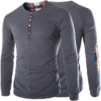 High Quality Woolen long sleeve t shirt men button 4XL 5XL Plus Size With Patchwork Camisetas Hombre Manga Larga Algodon