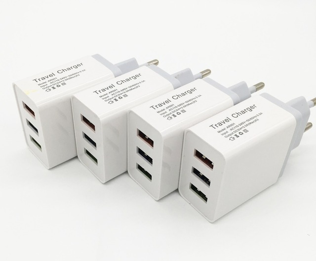 EU / US plug Charger Adapter 3 USB Wall Charger Potable Mobile phone Charger for iPhone Android phones Tablets Travel Charger