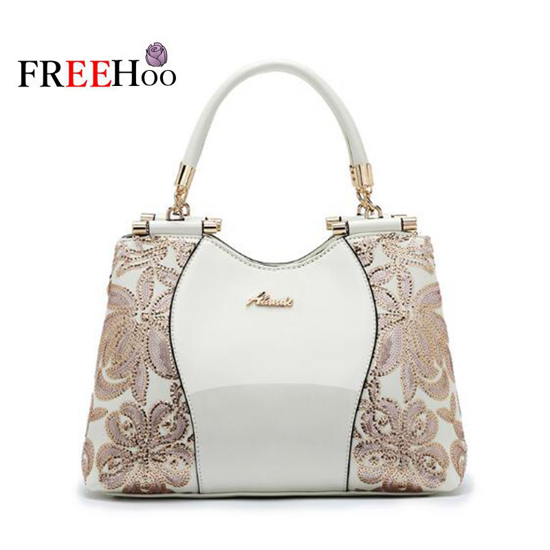Europe Fashion Bags For Women 2018 Embroidery Luxury Patent pu Leather Famous Brand Designer White handbag women messenger bag europe women bag women leather handbags pu handbag leather patent handbag