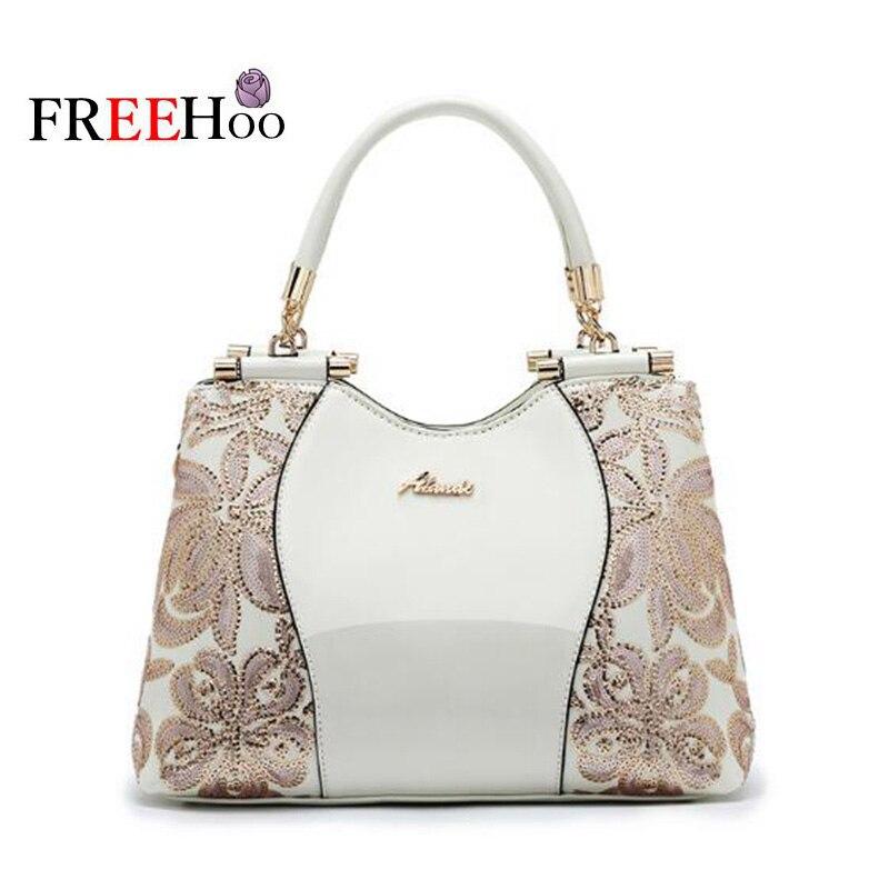 Europe mode sacs pour femmes 2019 broderie luxe brevet pu cuir célèbre marque Designer blanc sac à main femmes messenger sac
