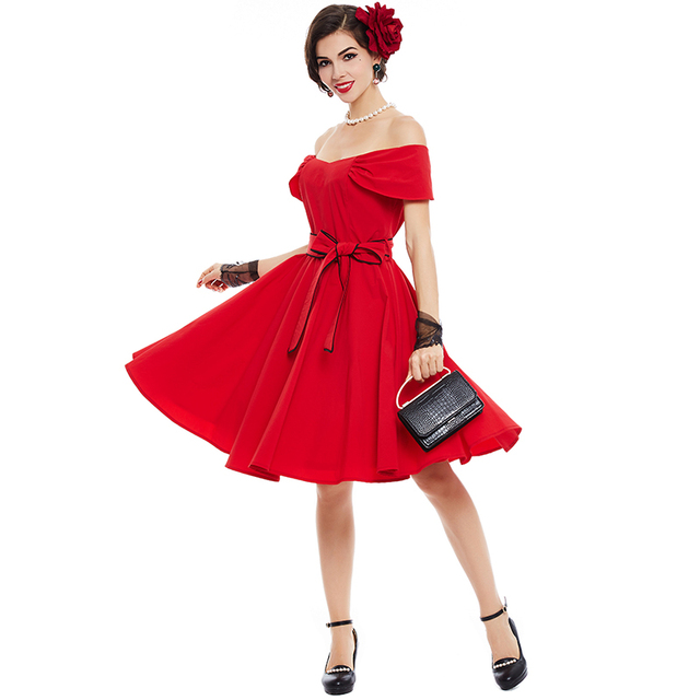 Sisjuly Vintage Dress 1950s Style Spring Pin Up Women Party Red 2018 Summer Elegant Strapless