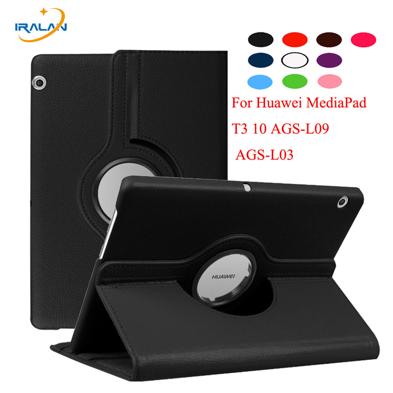 360 Rotating PU Stand Leather Cover For Huawei MediaPad T3 10 AGS-L09 AGS-L03 Tablet PC Case for Honor Play Pad 2 9.6