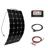 100 Вт DIY лодка Наборы Солнечная система элементов 100 Вт PV гибкие солнечные панели 10A солнечный регулятор 3 м MC4 кабельный зажим энергии