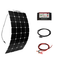 100W DIY Boat Kits Solar cells System 100W PV flexible solar panel 10A solar controller 3M MC4 cable clip energy panels