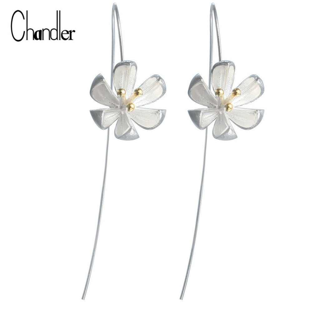 silver Long Flower Earrings For Women New Design Lovely Girls Gift Statement Jewelry Pendientes Plata 925 Wholesale