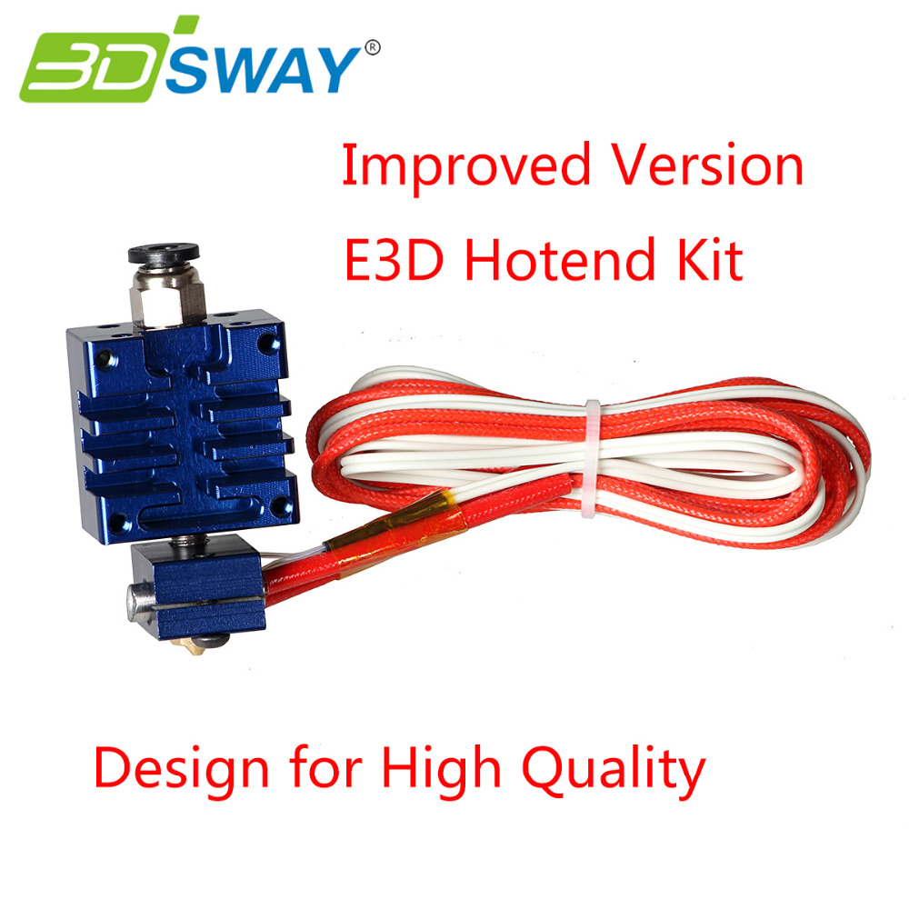 3DSWAY Improved Version E3D All metal Hotend Kit with Thermistor and Heater Blue Color 0.4mm/1.75mm Single Nozzle for 3D Printer