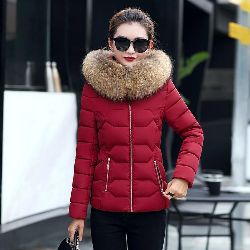 Winter Short Women Jackets Coat Cotton Warm Fur Hooded Basic Jacket Outwear Female Zip Casual Fashion Parka Women Coat