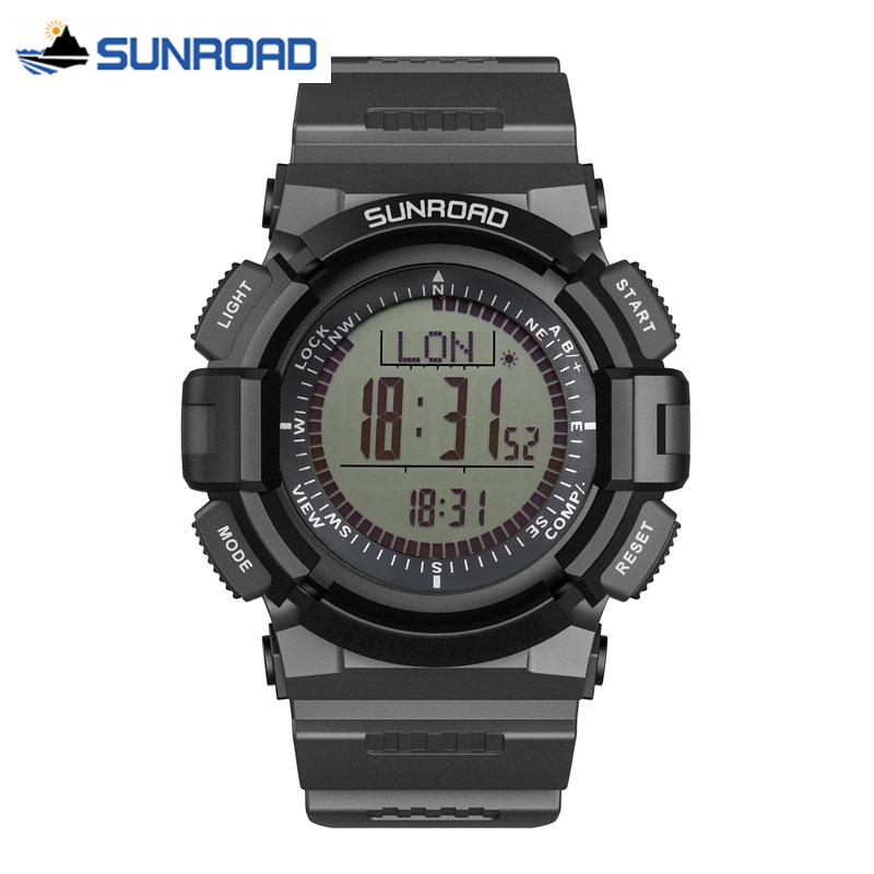 SUNROAD Digital Clock W/altimeter+barometer+compass+world Time+stopwatch Sport Wrist Watch Waterproof Hours Relogio Masculino