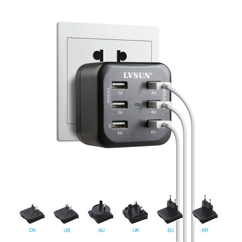 AC 34W 6 8A 6 Port USB Wall Charger For iPhone 6 Plus 6 5s iPad