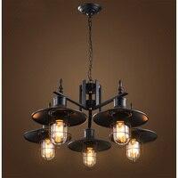 Kreative individualität lampe 5 köpfe anhänger licht eisen schwarz esszimmer lampe bar Eisen shop kleidung shop anhänger lampen Z17506-in Pendelleuchten aus Licht & Beleuchtung bei