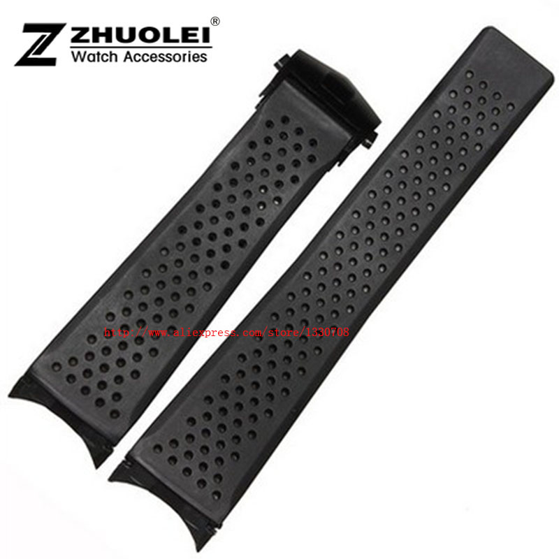 HOT 22mm 24mm New Top grade Black Diving Silicone Rubber Holes Watch Band Strap with stainless steel buckle купить недорого в Москве