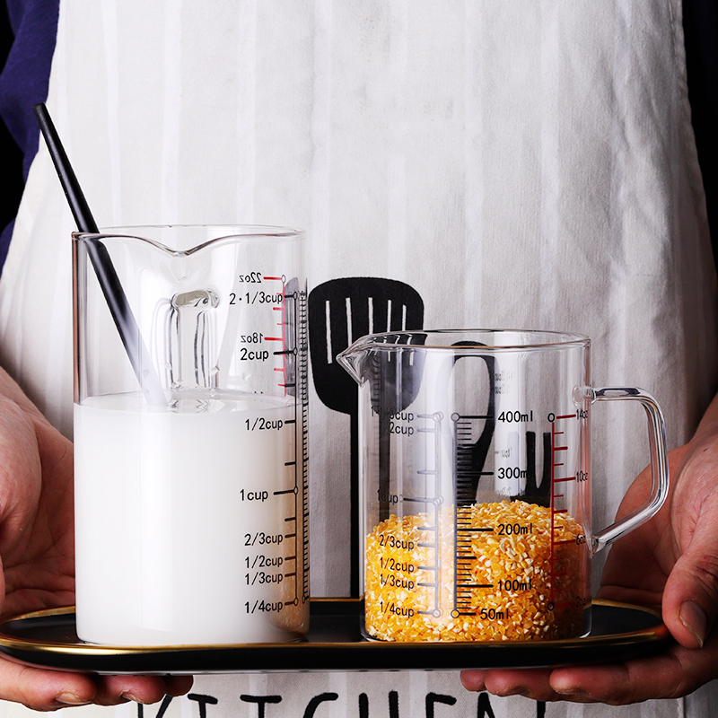 Borosilicate Glass Measuring Cup With Comfortable Handle For Milk And Liquid Measurement