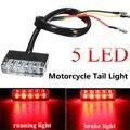 Universal  Motorcycle ATV Bike Mini 5 LED Rear Tail Running Stop Brake Light Lamp Red 12V