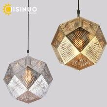 Modern Industrial Plating Ball Pendant Lamp Gold/Silver Stainless Steel Art Geometry Net Lighting Hotel/Restaurant Decoration