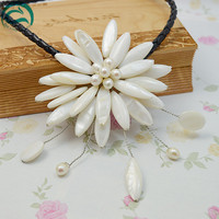 Unique Pearls jewellery Store Perfect White Real Pearl Shell Flower Leather Necklace Wedding Birthday Chirstmas Gift For Women