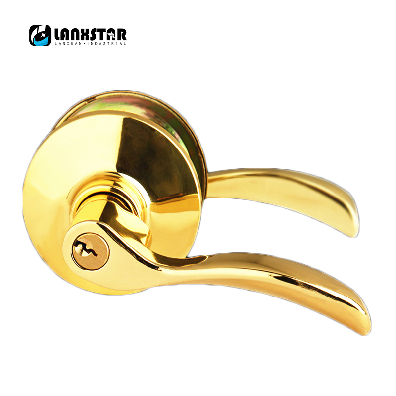 Luxury Design European New Style Gold Color Handle Solid Lockset Mechanical Handles Lock new european style machinery handles lockset wooden door split lock handle