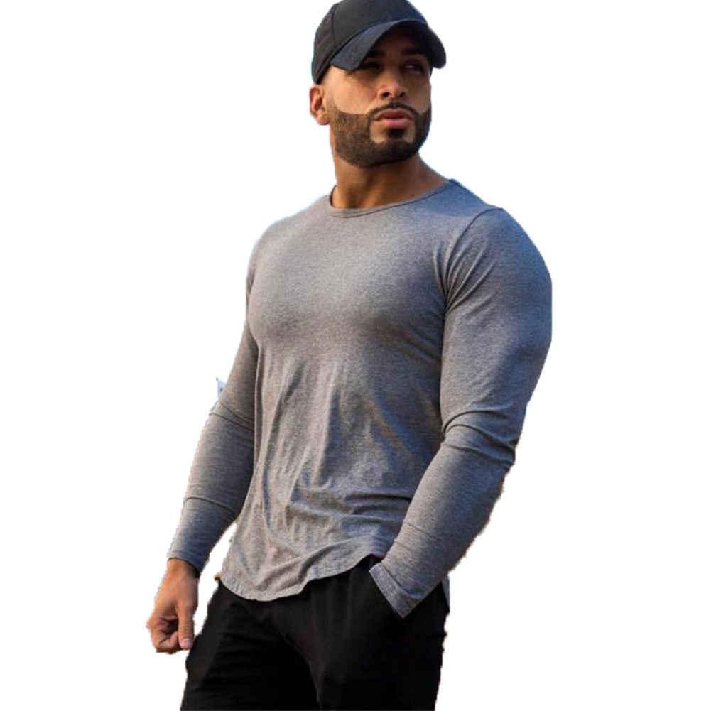 2018 חדש לגמרי גברים של Slim Fit O צוואר ארוך שרוול שרירים טי חולצה כותנה מזדמן ספורט מוצק למעלה
