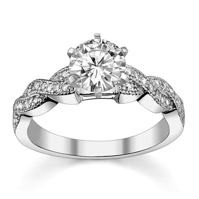 1 Carat Simulated Diamond Engagement Ring 925 Sterling Silver Platinum Plated Wedding Twist Band