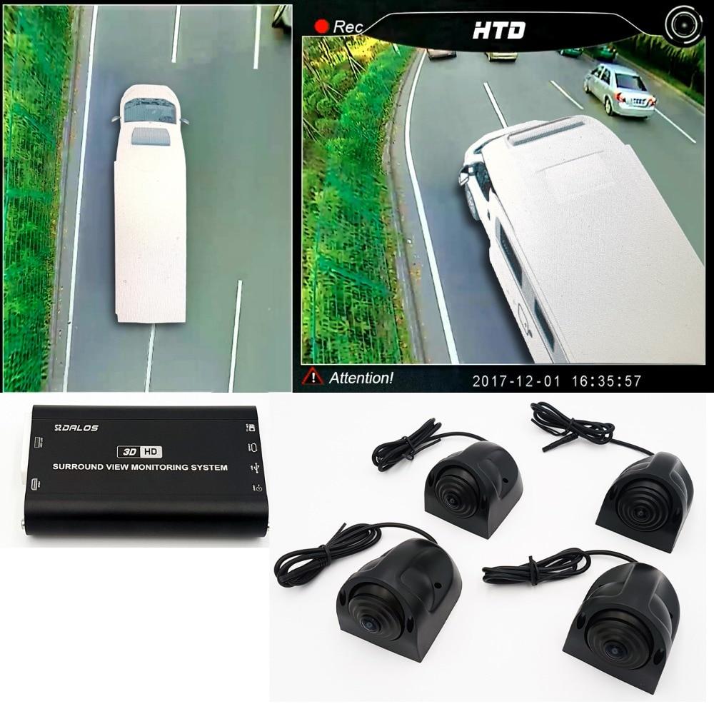 Système de caméra de vue d'oiseau pour RV/camping-car/camping-car HD 3D 360 système de vue Surround 1080P DVR g-sensor