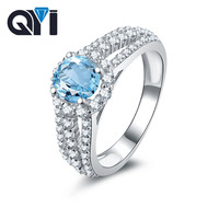 QYI 1.25 ct Natural Blue Topaz Engagement Ring Round Cut Multi Row Gemstone Jewelry 925 sterling silver rings Color Gems Rings