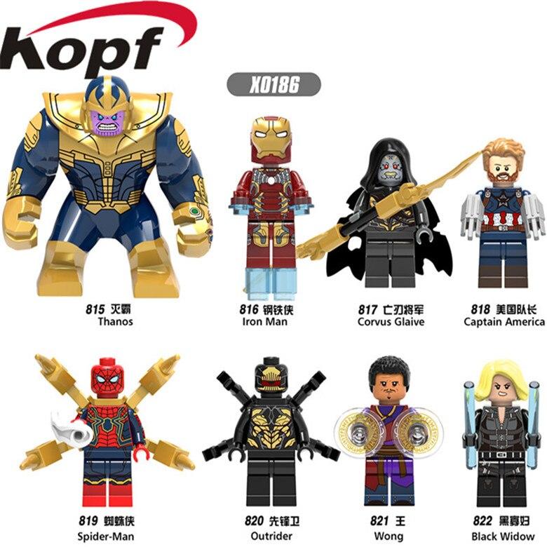 X0186 Super Heroes Thanos Wong Black Widow <font><b>Iron</b></font> Man <font><b>Spider-Man</b></font> Bricks Building Blocks Learning Action For Children Gift Toys