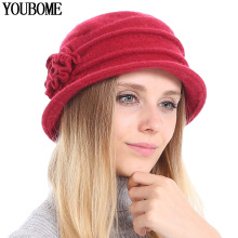 Autumn Hats Fedoras Female Girl Winter Fashion Women 100%Wool New Floral YOUBOME