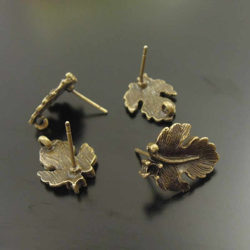 30pcs Bohemia Style Antique Bronze Leaf Earrings Studs Women Vintage Jewelry Handmade Crafts Component Jewelry Wholesale 20923