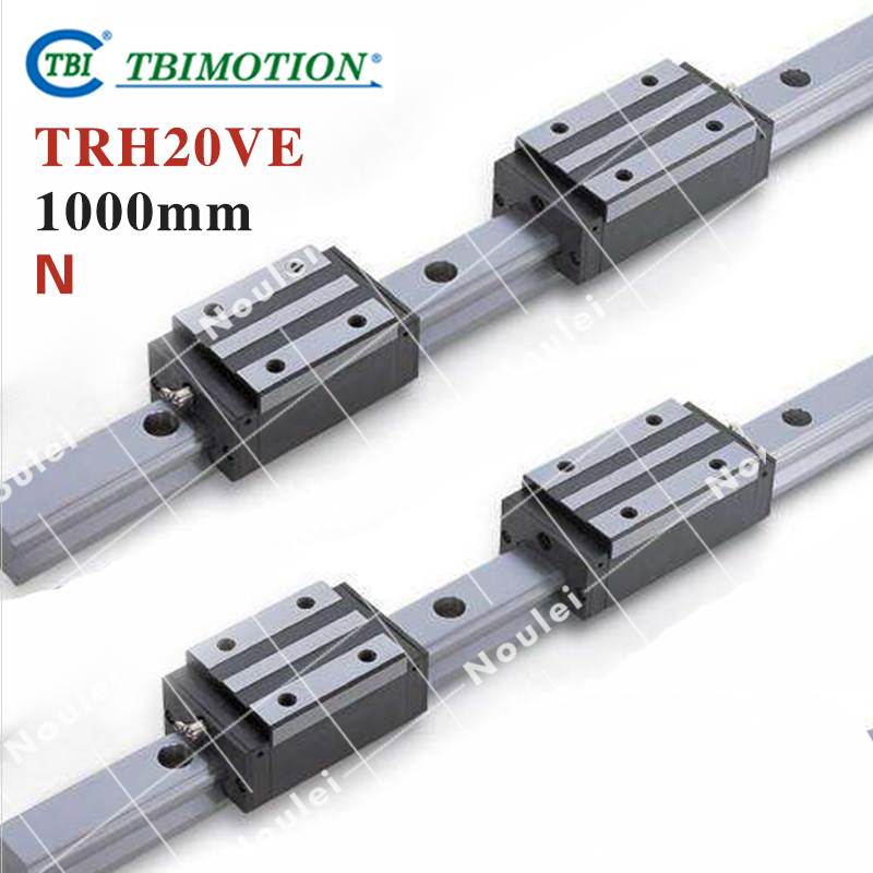 TBI 2pcs TRH20 1000mm Linear Guide Rail+4pcs TRH20VE linear block for CNC high precision low manufacturer price 1pc trh20 length 1800mm linear guide rail linear guideway for cnc machiner