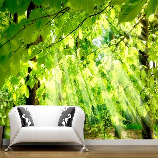 Custom 3d mural Forest through leaves sunshine green nature background wall  wallpaper lobby living room mural. Custom 3d mural Forest through leaves sunshine green nature