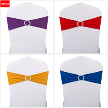 100PC Lycra Chair Band Stretch Elastic Spandex Chair Bow with Round Ring for Wedding Banquet Party Decoration Event Chair Sashes(China)