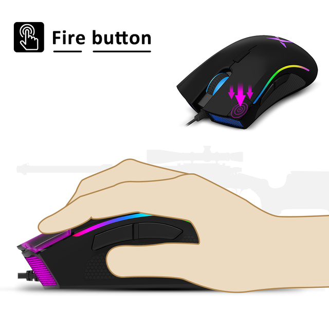 Delux M625 RGB Backlight Gaming Mouse 12000 DPI 12000 FPS 7 Buttons Optical USB Wired Mice For LOL DOTA Game player PC Laptop