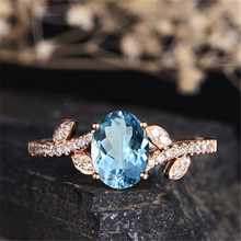 Rose Gold Blue Stone Rings for Women Wedding Engagement Gift Leaves Accessories Ring Crystal Ring Jewelry Anillos Mujer O3D083 trendy crystal ring wedding rings for women jewerly engagement ring rose gold rings female party jewelry gifts anillos mujer d40