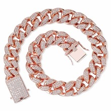 TOPGRILLZ 16 inch 30 inch Mens 20mm Heavy Iced Out Zircon Miami Cuban Link Necklace Choker Bling Hip hop Jewelry Fashion Charm