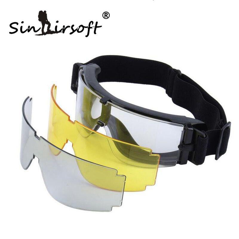 Prix pour SINAIRSOFT 2017 USMC Airsoft x800 Tactique Vélo Lunettes lunettes de Soleil Guerre jeux Lunettes Coupe-Vent miroirs GX1000 Noir 3 Lentille