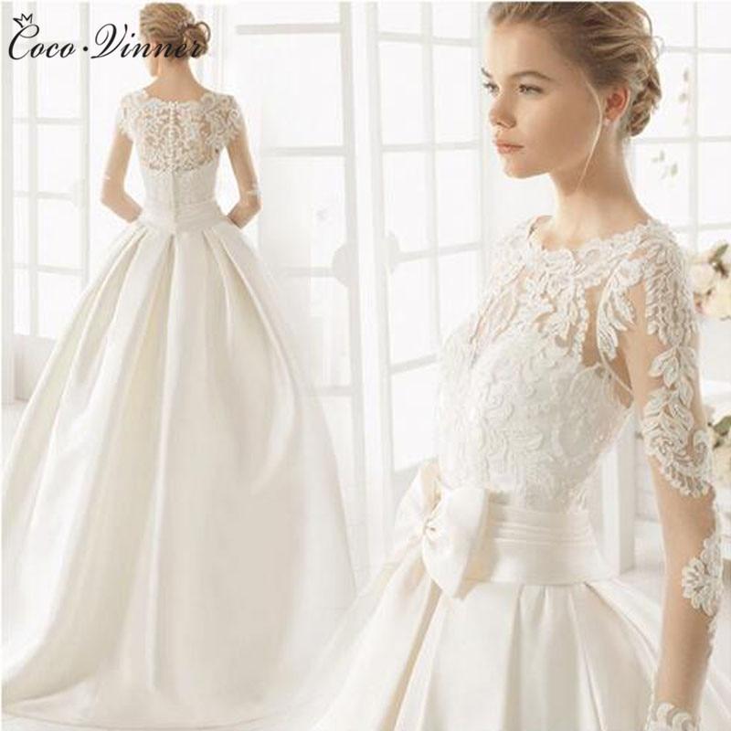 C.V Court Train Europe Simple Satin Wedding Dress 2019 New