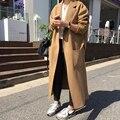 2017 Outono Inverno Nova moda Casaco de Lã Para As Mulheres Abrir Ponto Quente Exteriores Magro X-Longa Vala Senhoras YN065
