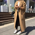 Fashion 2017 Autumn Winter New Wool Coat For Women Open Stitch Warm Outwear Slim X- Long Trench Ladies  YN065