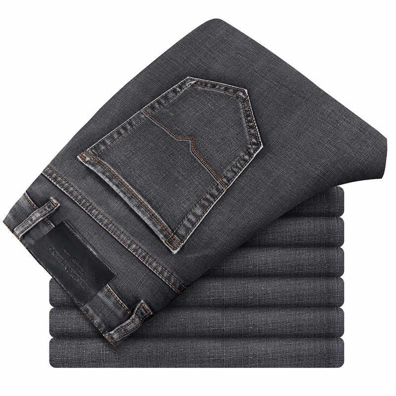 Брендовые мужские серые повседневные джинсы 2019 новые модные деловые стрейч прямые джинсовые брюки мужские большие размеры 40 42 44