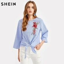 Шеин Роза Вышивка патч узлом спереди с рукавами-кимоно топ синий в полоску три четверти Длина рукавом Элегантная блузка