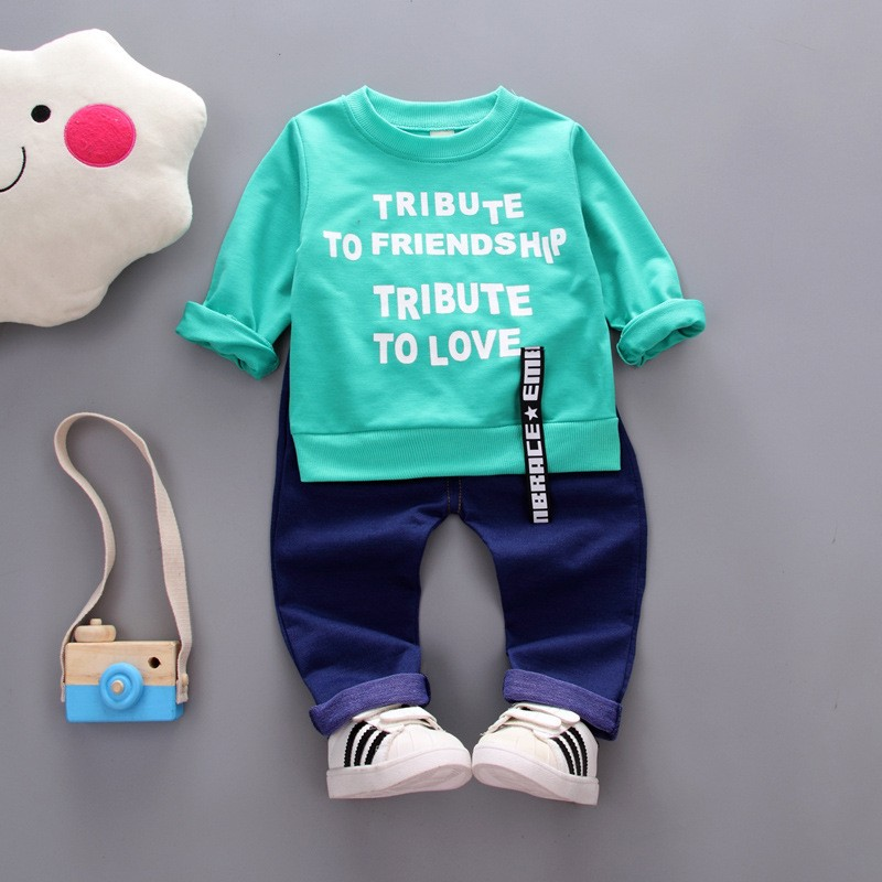 Kids Autumn Clothes Fashion Letter Printed Girl T-shirt Set Casual Children Clothing Boys Winter Clothes For Kids baby clothe fashion baby girl t shirt set cotton heart print shirt hole denim cropped trousers casual polka dot children clothing set