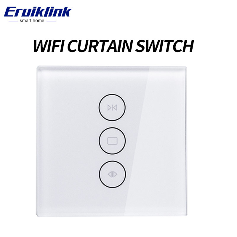EU Wifi touch curtain switch wall switch voice control by Alexa / Google phone control For Electric curtain motor smart home ewelink dooya electric curtain system curtain motor dt52e 45w remote control motorized aluminium curtain rail tracks 1m 6m