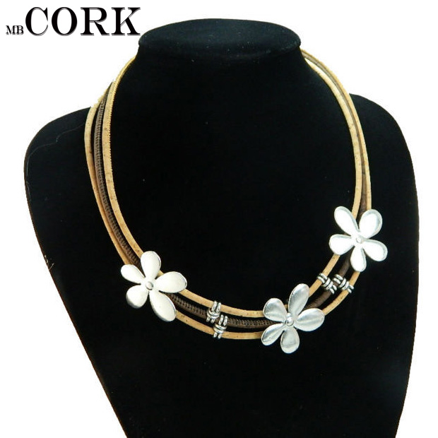 Portugal Cork necklace ,natural cork, three flower alloy brand, original necklace Enviro ...