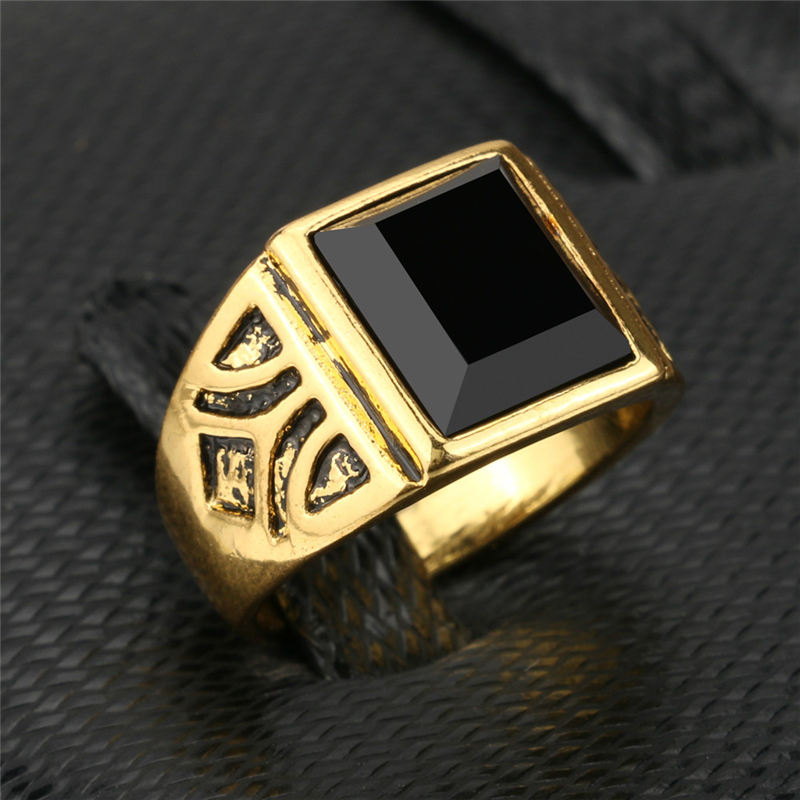 Fashion Gold Color Ring Men Jewelry Wedding Paty Accessories Punk Black Vintage Rings Drop Shipping Wholesale New 2017