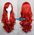 75cm /30'' Cheap Good Quality Princess Ariel Red Wig  Synthetic  Cosplay Wigs Long Curly Wig Party  Costume Perruque Cosplay